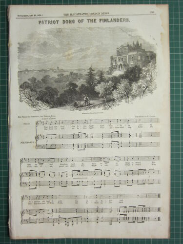 1854 DATED ANTIQUE ILN PRINT PATRIOT SONG OF THE FINLANDERS SHEET MUSIC