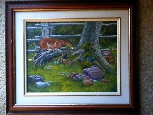 Original Painting Ron Osthus Winnipeg Fox Chipmunk Getting Acquainted Acrylic