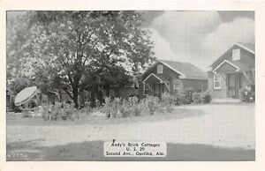D39-Opelika-Alabama-AL-Postcard-Andy-039-s-Brick-Cottages-Roadside-US29-c1940s