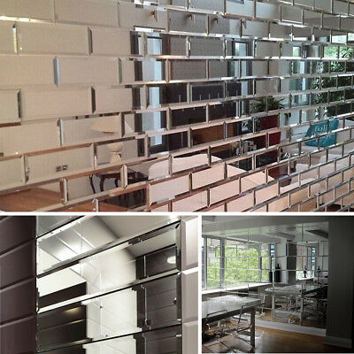 22pcs Clear Mirrored Bevelled Wall Tiles Mirror Brick Perfect For Home Decor Uk Ebay