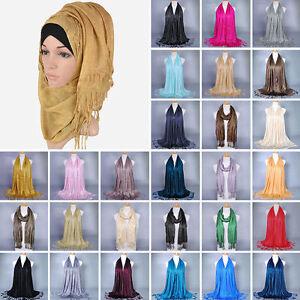 Women-Muslim-Islamic-Tassel-Glitter-Long-Hijab-Scarf-Shawl-Wrap-190-60cm-Quality