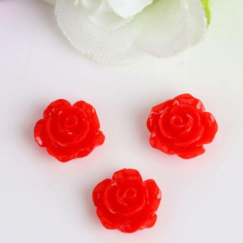 10PCS Vintage Flatbacks Cabochon Rose Flower Resin Lucite Cameo 10MM NEW RDR