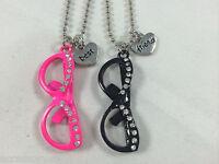 Best Friend Bff Rhinestone Nerdy Reading Glasses 2 Necklace Set Pink / Black
