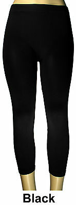 WOMEN SEAMLESS ONE SIZE STRETCH SPANDEX YOGA PANTS OPAQUE CAPRI LEGGINGS JEGGING