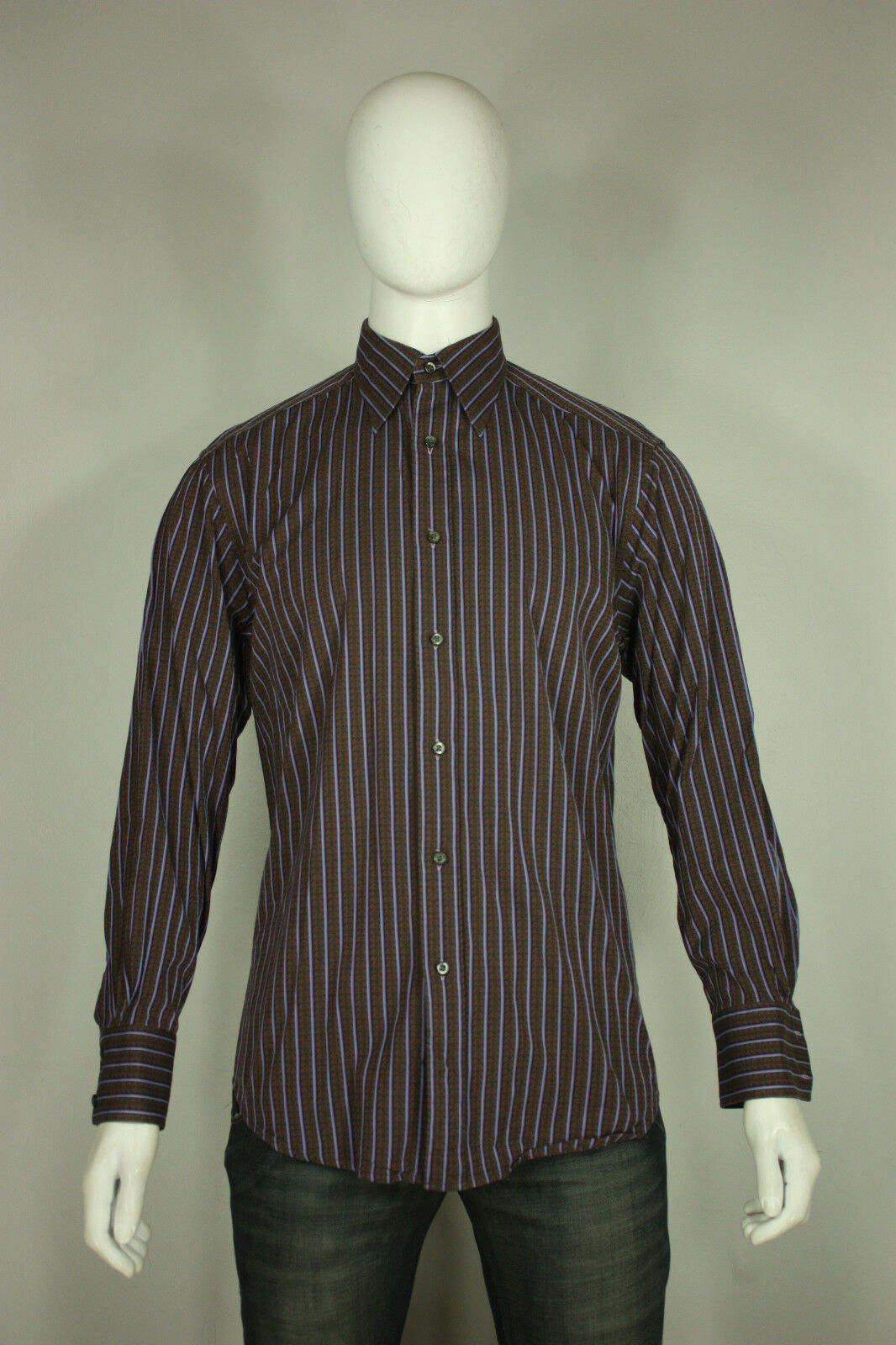 Robert Graham shirt L cotton striped worn once mint brown bluee free shipping