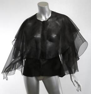 ANTONIO-BERARDI-Womens-Black-Sheer-Silk-Cape-Jacket-Formal-Cocktail-8-44-NEW