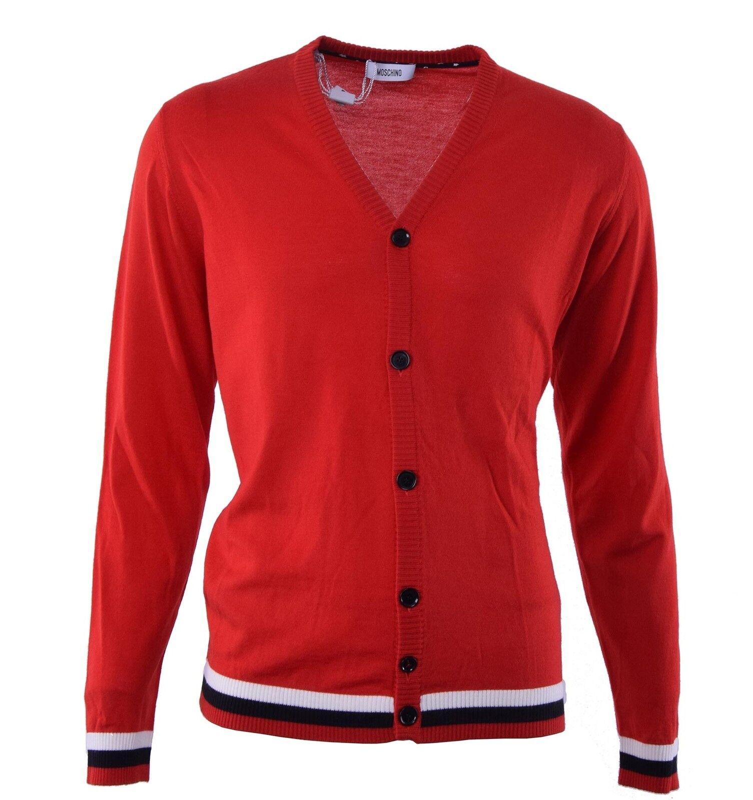 MOSCHINO tricotée laine vierge Veste tricotée MOSCHINO Rouge Virgin laine cardigan rouge 04479 df047c