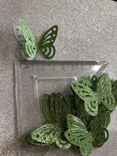25 Mariposas Grandes Tarjeta De Brillo Verde 3d ideal para elaboración de tarjetas