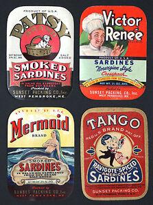 Lot of 16 Old Vintage c.1940/'s Sardines SARDINE Can LABELS MAINE