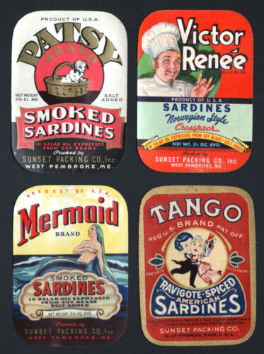 *Original* 4 Different Old SARDINE LABELS 1930/'s-1940/'S NOS Maine SUNSET PACKING