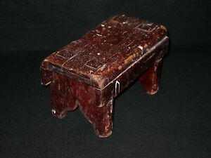 Antique 19th Century Rustic Primitive Wooden Mortise and Tenon Joint Footstool