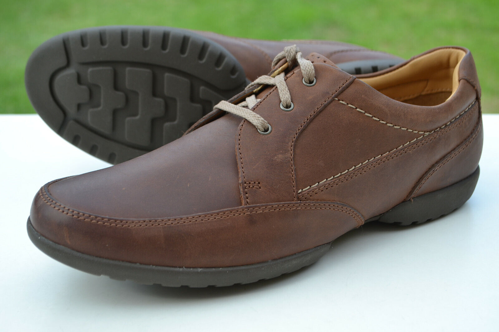 Clarks BNIB Mens Casual Shoes RECLINE OUT Tan Leather UK 7 H / 41 Wide Fit