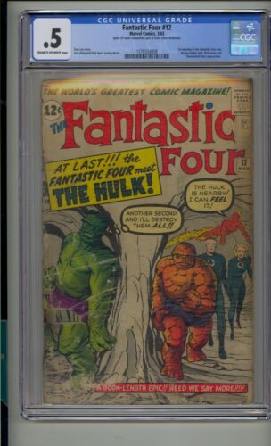 FANTASTIC FOUR #12 CGC .5 1ST MEETING INCREDIBLE HULK LEE KIRBY