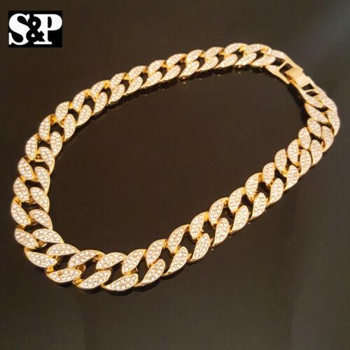 "Hip Hop Movie Star JK w// 18/"" Full Iced Cuban /& 1 ROW DIAMOND Choker Chain Set"