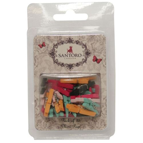 Santoro Mirabelle Coloured Mini Wooden Metal Craft Pegs x35 Small Embellishment