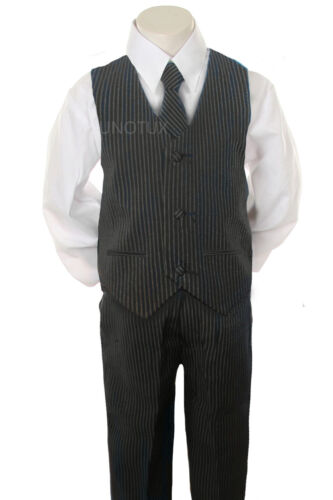 2T 3T 4T 5 6 7 New Baby,Toddler /& Boy Navy Pin Stripe Formal Vest Suit size