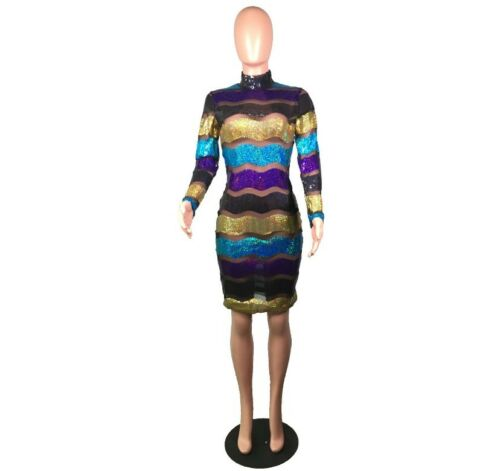 USA Women Sequined Striped Mesh Bandage Casual Bodycon Party Club Mini Dress