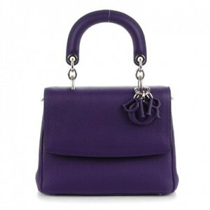 006c872ee1a CHRISTIAN DIOR Small BE DIOR Flap Bag Purse in Purple Leather *w ...