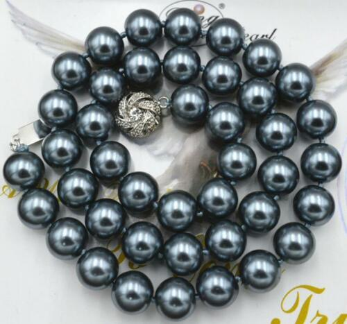 """10mm AAA South Sea Dark gray Shell Pearl Necklace 18/"""" LL009"""