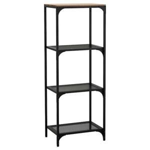 Ikea Rustique Etagere 51x136cm Noir Fjalbo Metal Bois Cloison Armoire Ebay