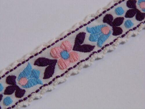 Cinta De Color Blanco Con Morado Y Rosa Flores Tejida Jacquard Vintage 20 mm R017