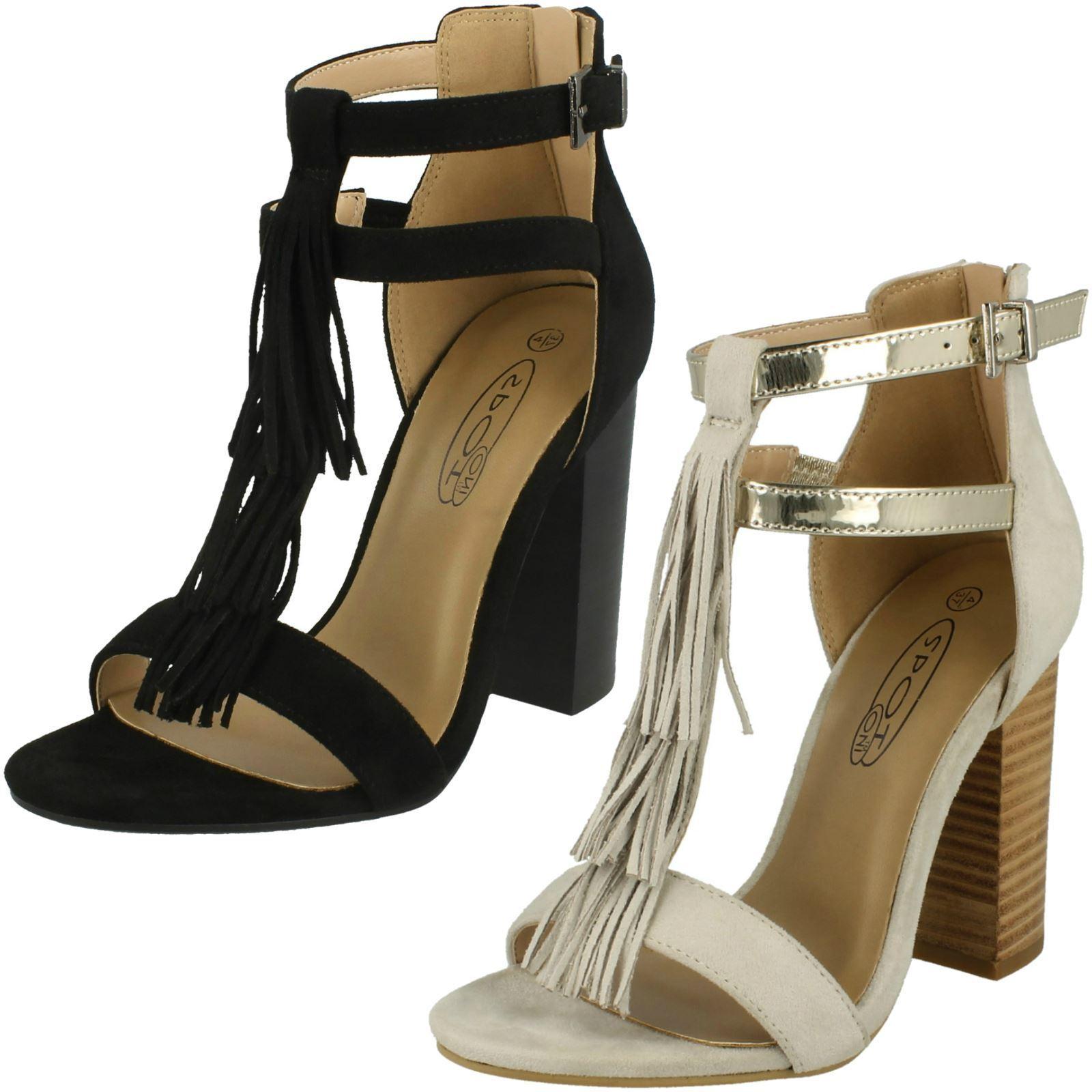 Ladies Spot On Heeled Tassel 'Sandal'