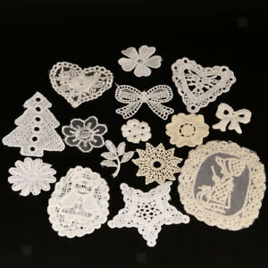 15pcs Assorted White Applique Embroidered Lace Patches Cotton Sewing Triming