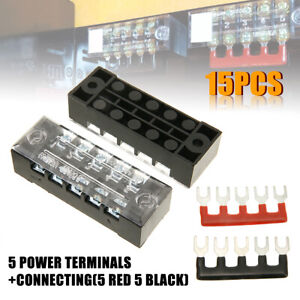 12 Terminal Dual Row Bus Bar 150A Bus Bar Block /& Cover for Ground Distribution for Car Boat Marine Power Distribution Terminal Block w// 12 Screws 4 Studs