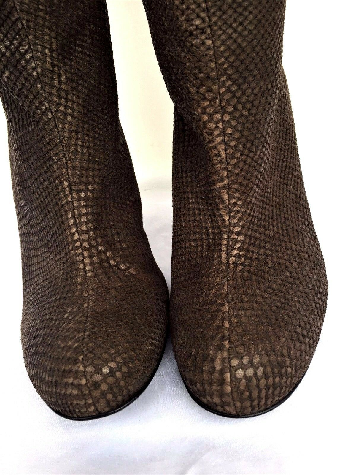 PROF Snake Skin Leather Heel Over The Knee Boots Made In Portugal Sz 39/ US 9M