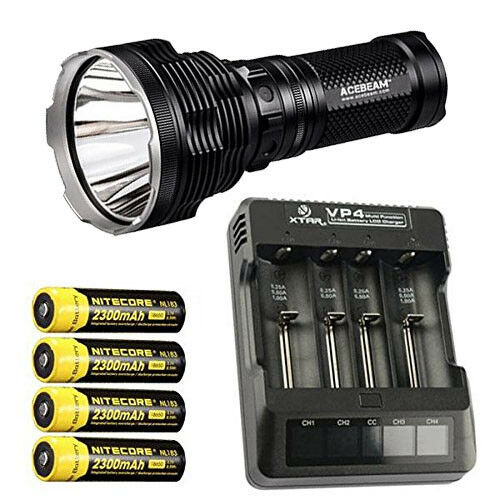 Acebeam VP4 K70 Flashlight XHP35 HI LED w/Xtar VP4 Acebeam Charger & 4x NL183 Batteries 79abe1