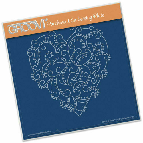 CLARITY STAMP GROOVI Parchment Embossing Plate HEART SWIRL GRO-LO-40047-03