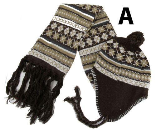 Winter Warm Pom Pom Peruvian Style Ear Muff Ski Hat Beanie /& Scarf Combo Set