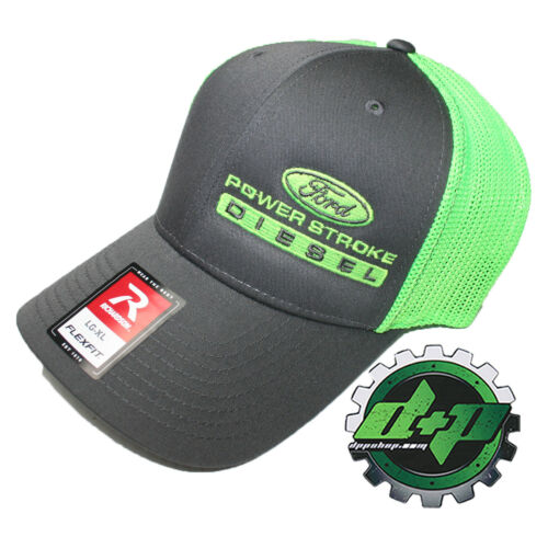 Ford Powerstroke trucker hat richardson Charcoal Gray Green mesh flex fit lg//xl