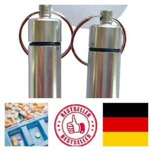 2x-Geocaching-Versteck-Nano-Pillendose-Alu-Container-Micro-Cache-silber-4-5x1-3