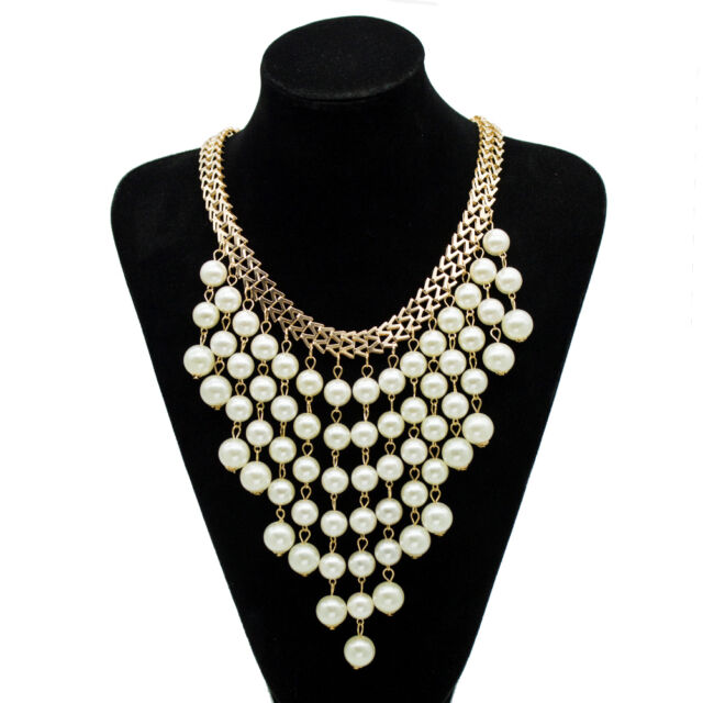 Women Charm Pearl Choker Chunky Statement Bib Necklace Jewelry Chain Multilayer