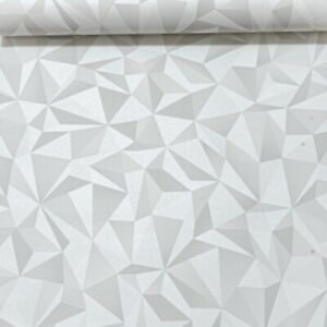 Details About White Light Grey Metallic Silver 3d Geometric Vinyl Wallpaper Slightly Imperfect