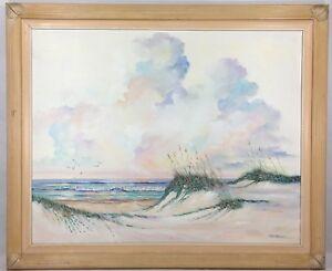 VTG-Original-Oil-Painting-On-Canvas-Framed-Seascape-Bird-Signed-Art-Fran-Hancock