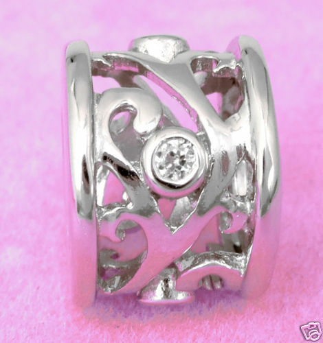 Solid 925 Sterling Silver Blossom Bead W 4 Cz * For Charm Bracelet / Necklace