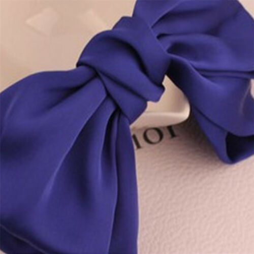Solid Hair Clips Women/'s Girls Large Bowknot Hair Pin Satin Barrettes Hairband