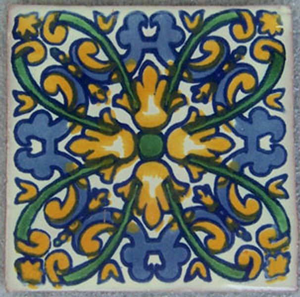 C195 - Mexican Handmade Talavera Clay Tile Folk Art 4x4