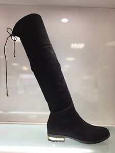 LADIES-WOMENS-BLACK-OVER-KNEE-HIGH-LOW-HEEL-SUEDE-FAUX-BOOTS-SHOES-SIZE-5