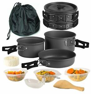 Camping-Cookware-11-Piece-Outdoor-Mess-Kit-Utensils-and-Mesh-Carry-Bag-Included