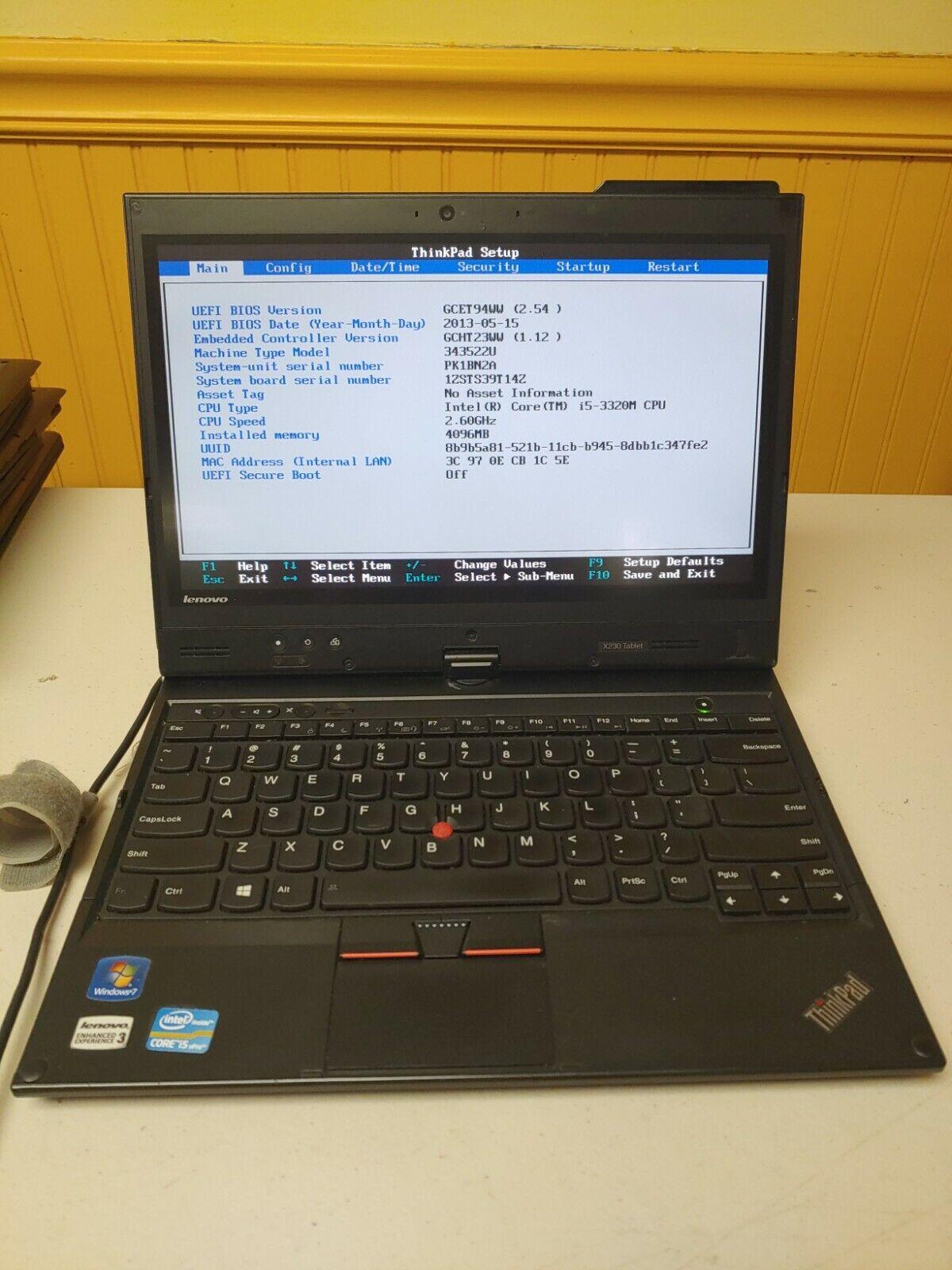 """LENOVO THINKPAD X230 12.5"""" Laptop Intel i5-3320M 2.60GHz 4GB RAM No Hdd/ caddy"""
