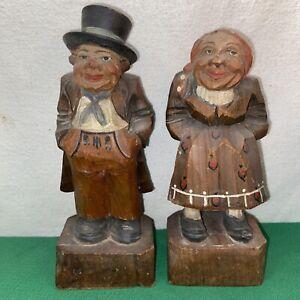 Vtg Hand Carved Wood Folk Art Babushka Old Woman Top Hat Man Couple Figurines