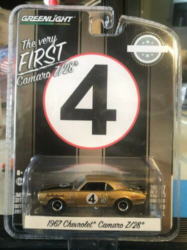 1//64 GREENLIGHT VERY FIRST 1967 CHEVROLET CAMARO Z//28 #4 GOLD /& BLACK STRIPES