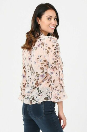 Ladies Blouse Top Frilled Choker Collar Printed Peach Chiffon 3//4 sleeves New