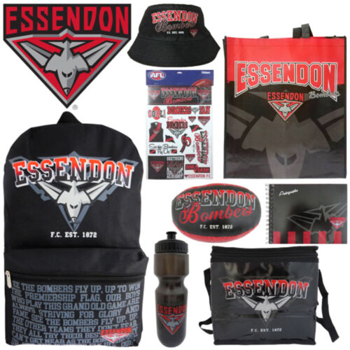 AFL Essendon Kids Showbag w//Backpack//Bottle//Football//Autograph Book//Bucket Hat