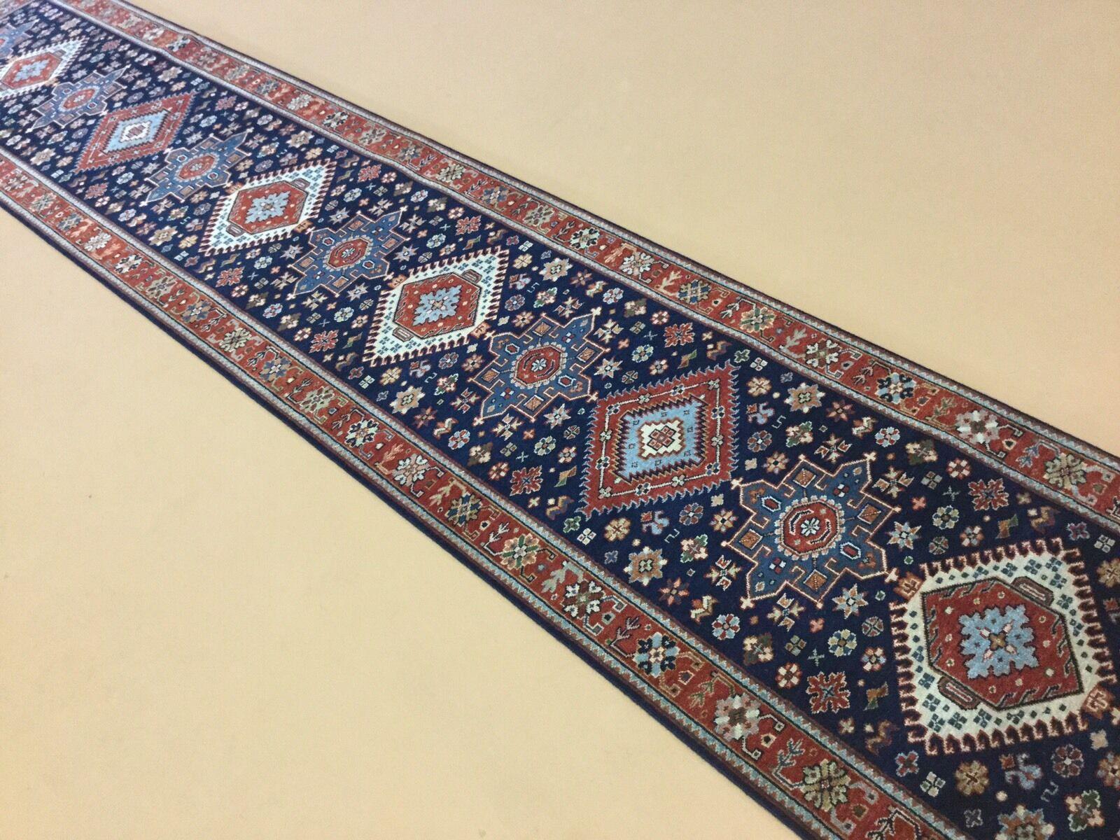 2'.6  X X X 13'.6  Navy Blau Karajeh Persian Oriental Rug Long Runner Hand Knotted beb291