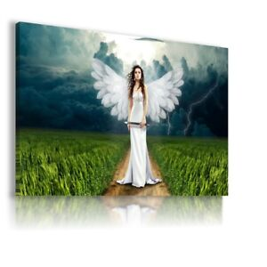 WOMAN ANGEL WHITE WINGS HAIR CANVAS WALL ART PICTURE LARGE  WS58 X MATAGA .