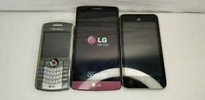 Lot-of-3-Cell-Phones-LG-Blackberry-Alcatel-Smartphones-Untested-for-Parts